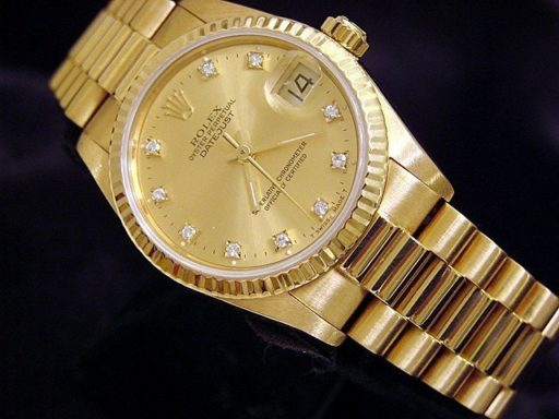 Rolex Yellow Gold Datejust President 68278 Champagne Factory Diamond-4