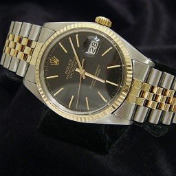 Mens Rolex Two-Tone 14K/SS Datejust Black  1601 (SKU 6060391BCMT)