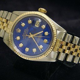 Mens Rolex Two-Tone 18K/SS Datejust Blue Diamond 16013 (SKU 7537693BNNMT)
