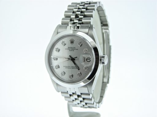 Rolex Stainless Steel Date 1500 Silver Diamond-5