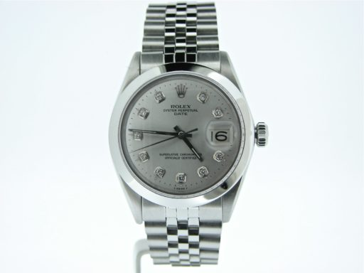 Rolex Stainless Steel Date 1500 Silver Diamond-4