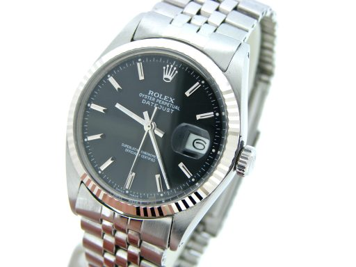 Rolex Stainless Steel Datejust 1601 Black -6