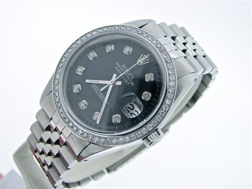 Rolex Stainless Steel Datejust 1603 Black Diamond-5