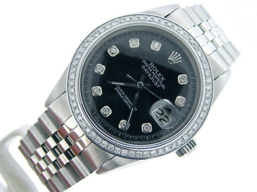 Rolex Stainless Steel Datejust 1603 Black Diamond-4