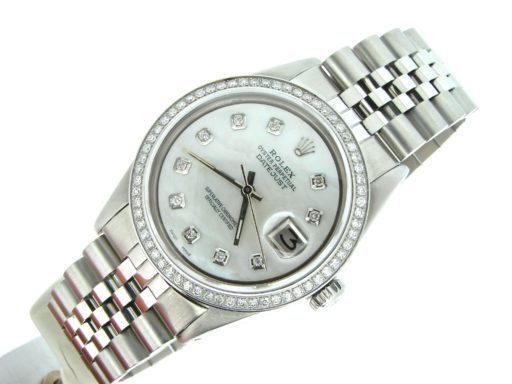 Rolex Stainless Steel Datejust 1603 White MOP Diamond-5