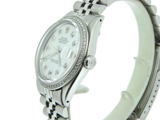 Rolex Stainless Steel Datejust 1603 White MOP Diamond-4