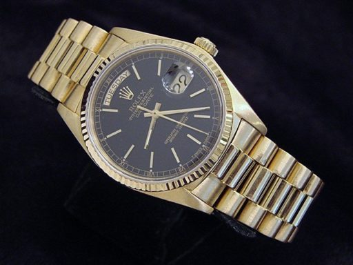 Rolex 18K Yellow Gold Day-Date President 18038 Black -6