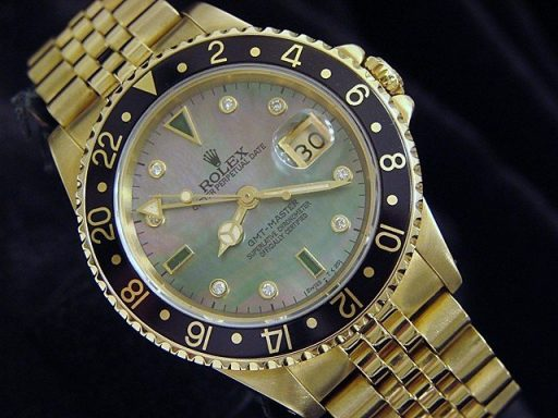 Rolex 18K Yellow Gold GMT-Master 16758 Diamond-6