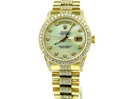 Rolex  Yellow Gold Day-Date President 18038 Full Diamond-5