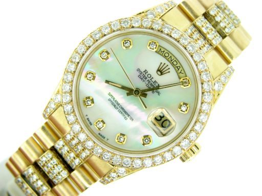 Rolex  Yellow Gold Day-Date President 18038 Full Diamond-4