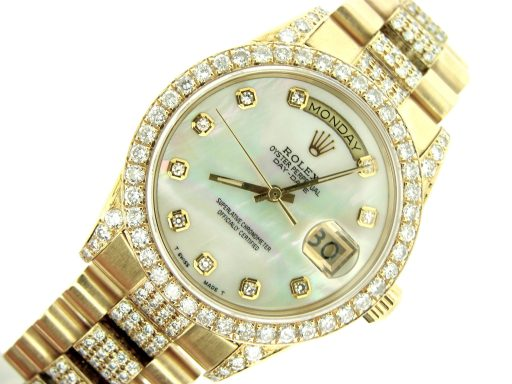 Rolex  Yellow Gold Day-Date President 18038 Full Diamond-3