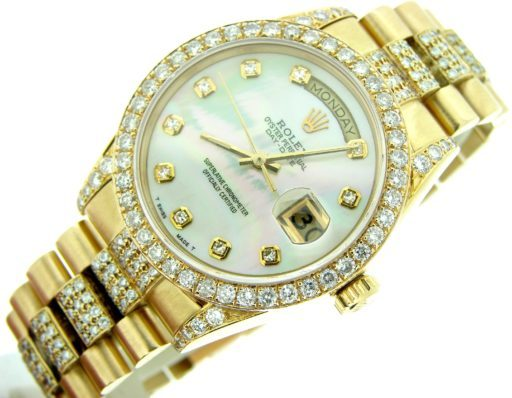 Rolex  Yellow Gold Day-Date President 18038 Full Diamond-2