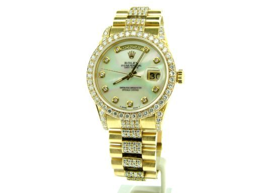 Rolex  Yellow Gold Day-Date President 18038 Full Diamond-6