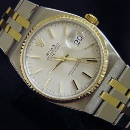 Pre Owned Mens Rolex Two-Tone Oysterquartz Datejust Silver 17013 (SKU E148666M)