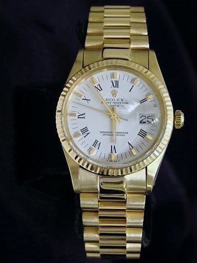 Rolex 14K Yellow Gold Date 15037 White Roman-2