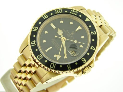 Rolex 18K Yellow Gold GMT-Master 16758 Black Nipple-5