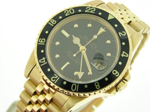 Rolex 18K Yellow Gold GMT-Master 16758 Black Nipple-4