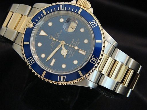 Rolex Two-Tone Submariner 16613 Blue -7