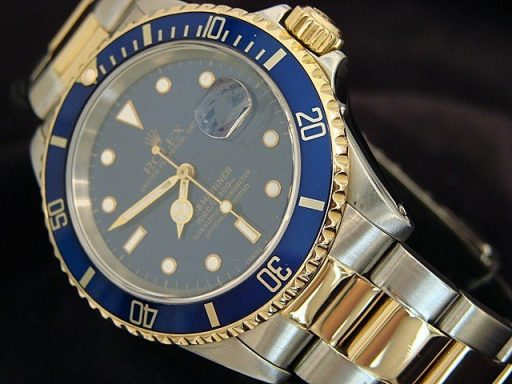 Rolex Two-Tone Submariner 16613 Blue -5