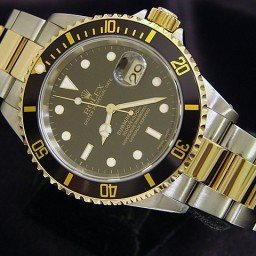 Mens Rolex Two-Tone 18K/SS Submariner Black  16613 (SKU P871026MT)