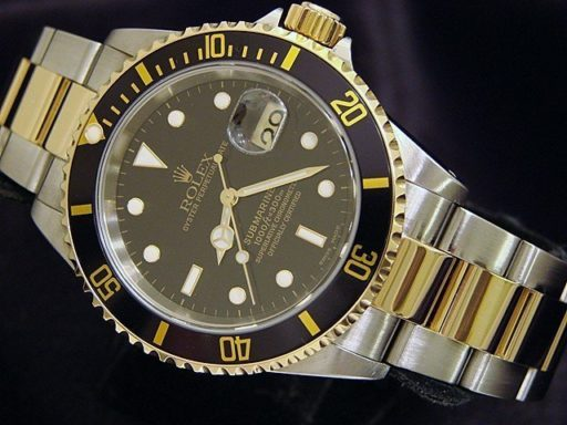 Rolex Two-Tone Submariner 16613 Black -2