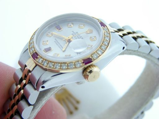 Rolex Two-Tone Datejust 6917 Silver Diamond Ruby-4