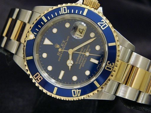 Rolex Two-Tone Submariner 16613T Blue -5