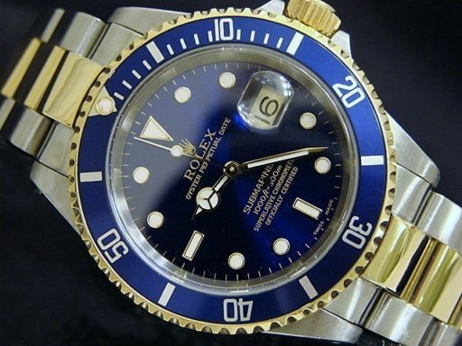 Rolex Two-Tone Submariner 16613 Blue -4