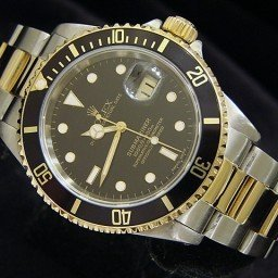 Mens Rolex Two-Tone 18K/SS Submariner Black  16613 (SKU T957013BCMT)