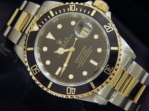 Rolex Two-Tone Submariner 16613 Black -5