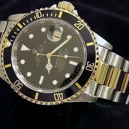 Mens Rolex Two-Tone 18K/SS Submariner Black  16613