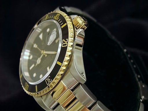 Rolex Two-Tone Submariner 16613 Black -4