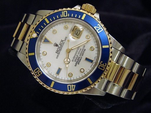 Rolex Two-Tone Submariner 16613 White MOP Diamond-8