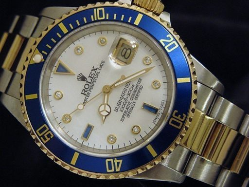 Rolex Two-Tone Submariner 16613 White MOP Diamond-7