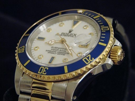 Rolex Two-Tone Submariner 16613 White MOP Diamond-4