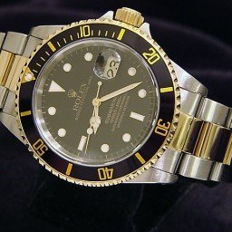 Mens Rolex Two-Tone 18K/SS Submariner Black  16613 (SKU E524519BCMT)