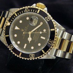 Mens Rolex Two-Tone 18K/SS Submariner Black  16613 (SKU X522317BCMT)