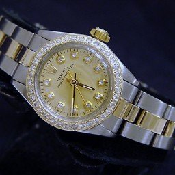 Ladies Rolex Two-Tone 14K/SS Oyster Perpetual Champagne Diamond 6719 (SKU 6570931CMT)
