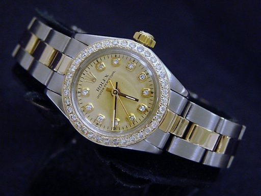 Rolex Two-Tone Oyster Perpetual 6719 Champagne Diamond-3