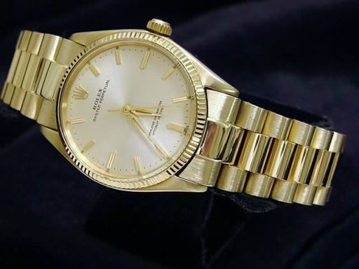 Rolex 14K Yellow Gold Oyster Perpetual 1005 Silver -6