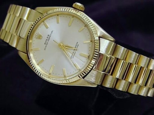 Rolex 14K Yellow Gold Oyster Perpetual 1005 Silver -5