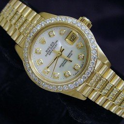 Ladies Rolex 18K Yellow Gold Datejust President Full Diamond White  6917