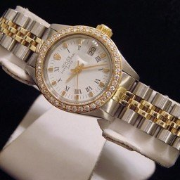 Ladies Rolex Two-Tone 14K/SS Date Diamond White Roman 6917