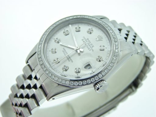 Rolex Stainless Steel Datejust 16030 Silver Diamond-5