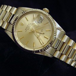 Pre Owned Mens Rolex Yellow Gold Date with a Gold Champagne Dial 15037