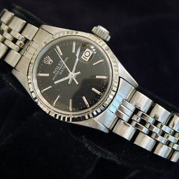 Ladies Rolex Stainless Steel Date Black  6517