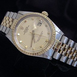 Pre Owned Mens Rolex Two-Tone Peg Date with a Gold/Champagne Dial 15053
