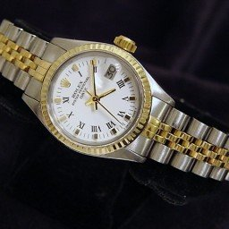 Ladies Rolex Two-Tone 14K/SS Date White Roman 6917