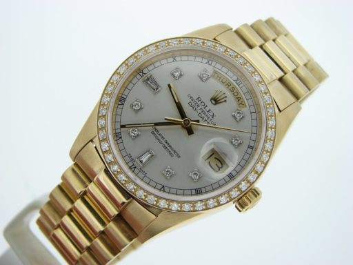 Rolex 18K Yellow Gold Day-Date President 18038 Silver Diamond-6