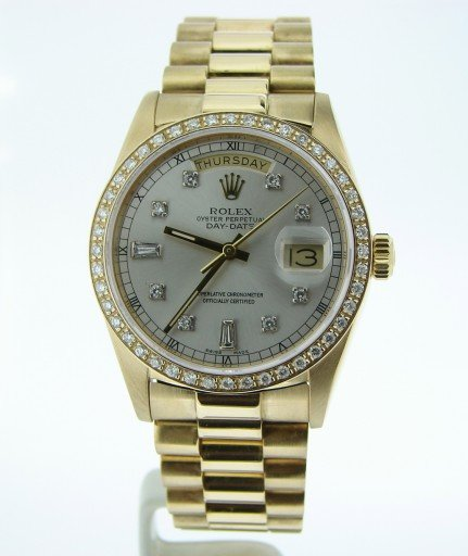 Rolex 18K Yellow Gold Day-Date President 18038 Silver Diamond-7